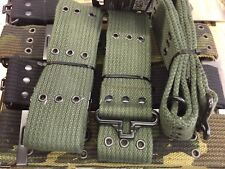 "2"" ARMY CADET PISTOL BELT Olive Green Military Heavy Duty Canvas OG Black Camo"