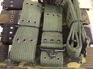"2"" ARMY CADET PISTOL BELT Olive Green Military Heavy Duty Canvas OG Black Waist"