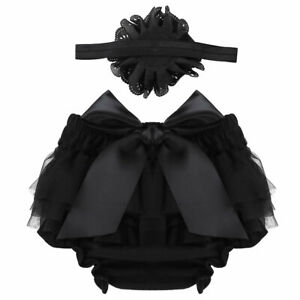 Infant Baby Girls Bloomer Diaper Cover Set Tulle Ruffle Bowknot Photography Prop