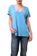 Wildfox Women's New NY Baby Roadtrip Jersey Top Blue Shimmer Size S RRP£55 BCF74