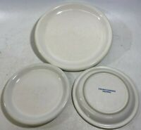 """CROWN CORNING Indonesia (1) PLATE 11.5"""" + (2) SAUCERS 8"""" Off White - USED!"""