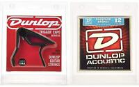 Dunlop 83CBA12 Acoustic Trigger Capo & Phosphor Bronze Strings Combo Pack