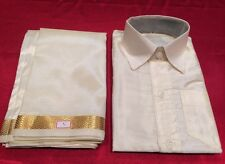 8 Size Age Boys Indian Costume Silk Dhotti Shirt Bollywood Cream Off White