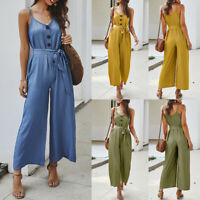 Women's Summer Solid V Neck Sleeveless Jumpsuit Casual Wide Leg Pants Playsuit
