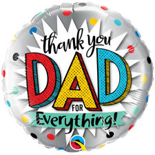 "18"" Thank You Dad Balloon Childrens Kids Father's Day Round Foil Adults Qualatex"