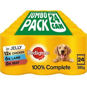 24 x 385g Pedigree Adult Wet Dog Food Tins Mixed Selection in Jelly Jumbo
