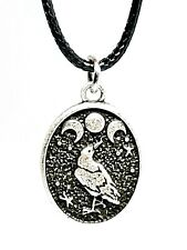 Raven Triple Moon Pendant Cord Lace Necklace Pagan Wicca Witch Occult Jewellery