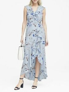 Banana Republic Women's Floral Ruffle Wrap Maxi Dress- Soft Blue Sz. 14 TALL