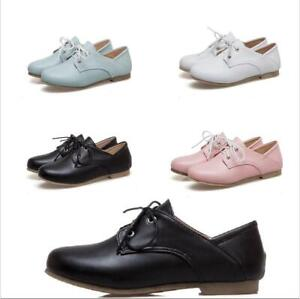 Women's Oxford Vintage Loafers Breathable Flat Low Heel Round Toe Fashion Shoes