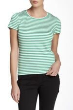 LAFAYETTE 148 NEW YORK Size Large Green White Striped Tee
