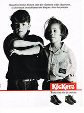 PUBLICITE ADVERTISING 074  1989  KICKERS    chaussures bottines bottes enfants