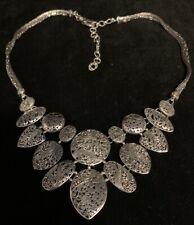 """SARDA Sterling Silver Filigree Necklace 20""""-24"""" Statement Artisan of Bali Pebble"""