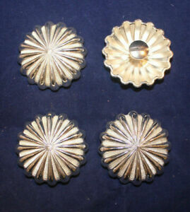 """Conchos - 1.50"""" Silver Flower - Chicago Screw - Pack of 4 (C28)"""