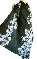 NOIR paréo écharpe sarong/pareo, maillot de bain haut GRIS HIBISCUS compossé