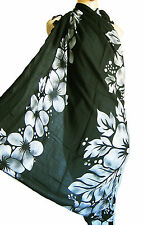 BLACK beach wrap scarf sarong/pareo, swimwear cover up GREY HIBISCUS FLOWES new