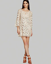 NEW BCBG MAX AZRIA Almond BLSM Tianya Crochet Tunic Dress MPN66A02 SZ: M $338.00