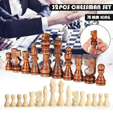 32Pcs Wooden Chess Game Set 70mm Wooden Carved Chess Pieces Hand Crafted King@