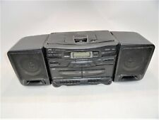 JVC PC-X110 CD Dual Cassette Player Portable Boombox System Limited Test AS-IS
