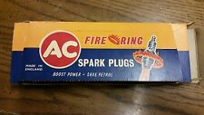 AC fire ring spark plugs lot-10 vintage 4 green rings NOS w/ display 44s england
