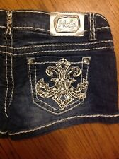 Miss Chic LA Destroyed women's denim blue jeans shorts size S #43 Made in USA