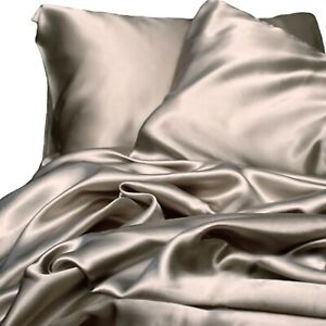 New Ivory & Deene Soft Satin Sheet Set King Size Luxury Champagne 4pc Bed Linen