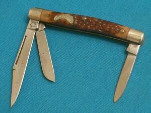VINTAGE FRONTIER POWDER HORN 4031 USA JR CATTLE STOCKMAN KNIFE KNIVES POCKET OLD