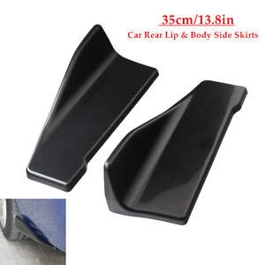 Pair Universal Gloss Black ABS Car Bumper Spoiler Under Skirt Rocker Wings Kit