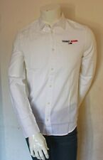 Tommy Hilfiger Mens White Long Sleeve Cotton Textured Slim Fit Casual Shirt Top