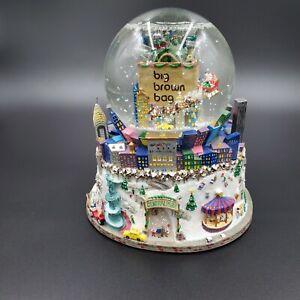 Bloomingdales Big Brown Bag NYC Christmas Snow Globe Twin Towers Central Park