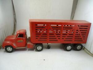 Vintage Pressed Steel Tonka Toys Truck Livestock Tractor Trailer Model 1960s Old