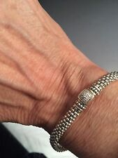 """Designer LAGOS S/S 6MM Diamond Pave' Square Caviar Rope Bracelet, sz 6.5"""""""