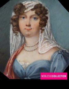 ANTIQUE 1820s FRENCH SCHOOL MINIATURE PAINTED WATERCOLOR GOUACHE WOMAN PORTRAIT