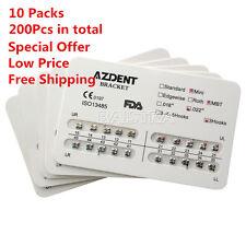 AZDENT 10 Kits Dental Orthodontics Metal Brackets Braces Mini MBT.022 Hooks 3