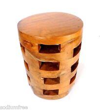 Primitive Hardwood Stool Drum Side Table Solid Wood Stand