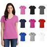 Gildan Ladies V-Neck Tee Basic Cotton Blank Solid Short Sleeve T-Shirt 5V00L