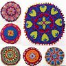 INDIAN SUZANI EMBROIDERED ROUND PILLOW CUSHION COVER Colorful Decorative Throw