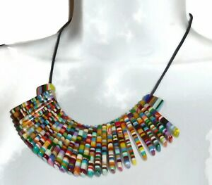 Sobral Magazine Nylon Rainbow Stripe Bead Necklace Brazil Import