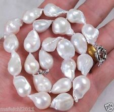 """Real 18"""" 12-14mm Natural South sea Baroque White reborn keshi Pearl Necklace"""