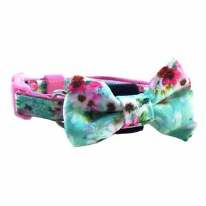 CAT COLLAR Flower padded plastic clip bow