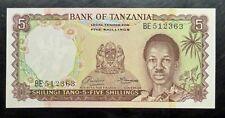 1966 TANZANIA 5 Shillings P1a Sig. 1 UNC