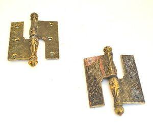 Vintage Bronze Brass x2 Pair of Hinges Hardware Door architectural salvage