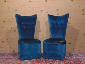 1950s Italian blue velvet room chairs