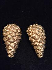 Vtg. YSL Yves Saint Laurant Gold Tone Pinecone Clip Earrings 1990s