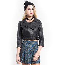 Women & Girls 100% Genuine Lambskin Leather Crop Moto Bolero Shrug Biker Jackets