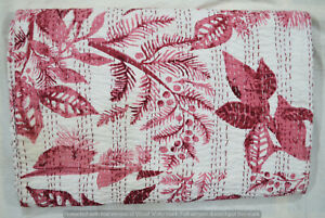 100%Cotton Indian Bed Cover Kantha Quilt Blanket Bedspread Hand Block Owl Print