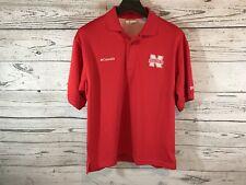 Columbia Pfg Mens Red Nebraska Huskers Short Sleeve Polo Shirt Size Small Nwt