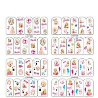 Nail Art Water Decals Stickers Transfers Neon Barbie Doll Bows Lips Hearts