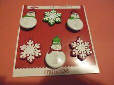 New ! 6 PK Holiday Christmas Mini Tree Ornaments Snowflakes Snowman
