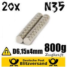 20x Neodym Magnet Scheibe D6,15x4 mm - kleine Magnete Experimentiermagnete