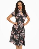 Lindy Bop Emma Lou Dark Floral Print Swing Dress  - Size 22 - BNWT